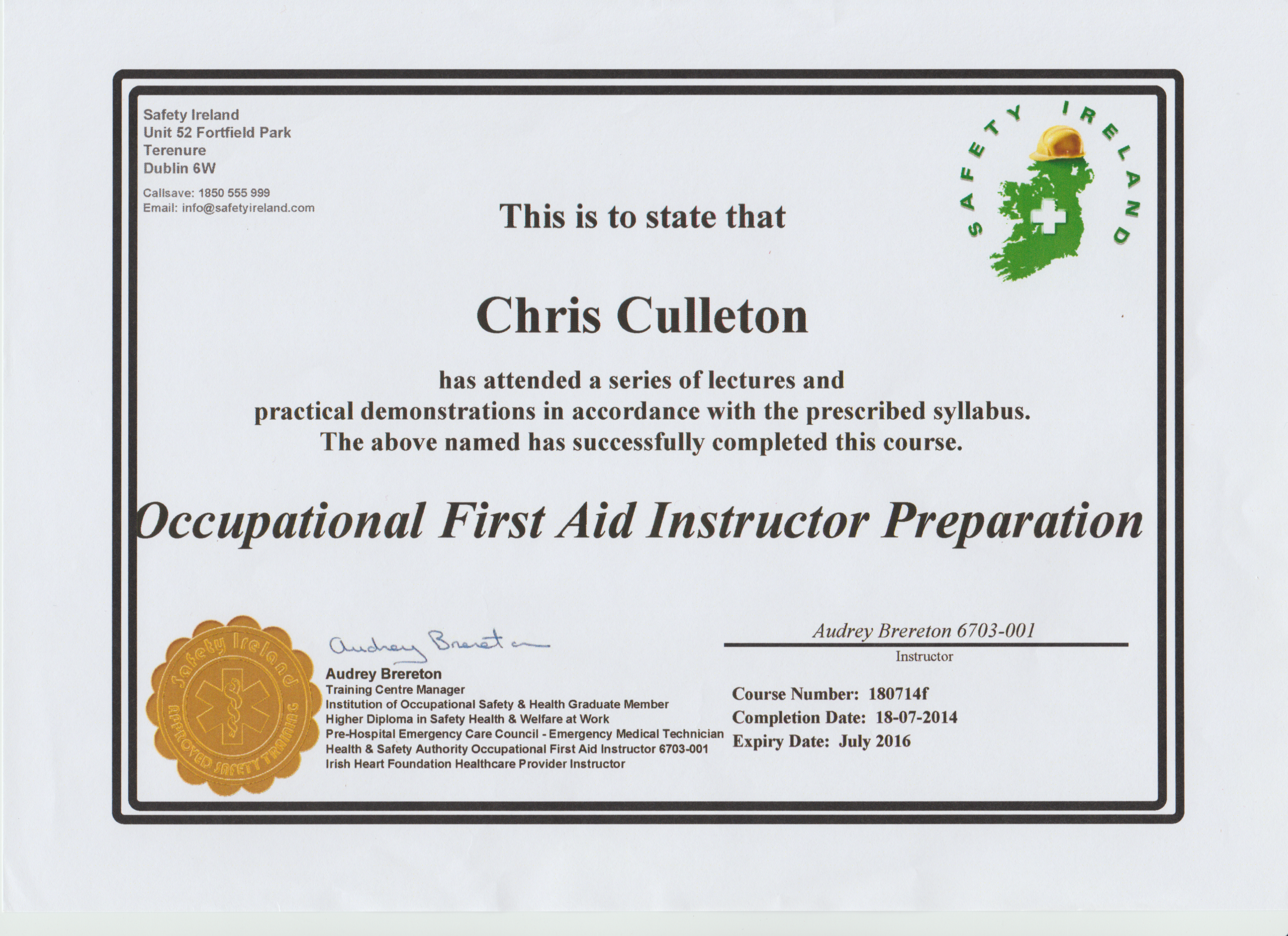 Occupational first aid chris culleton training occupational first aid instructor preperation course 1betcityfo Images